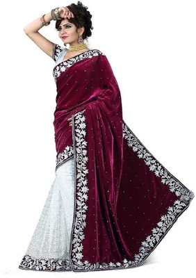 Red woven velvet saree with blouse