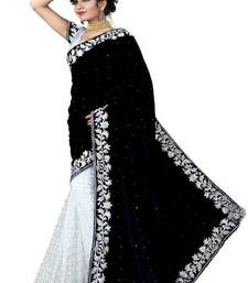 Black woven velvet saree with blouse