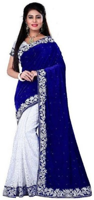 Blue Woven Velvet Saree With Blouse
