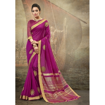Magenta embroidered cotton saree with blouse