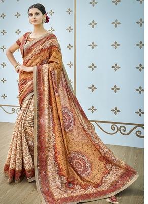 multicolor printed banarasi silk blend saree with blouse