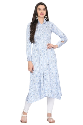 Light-aqua-blue printed satin ethnic-kurtis