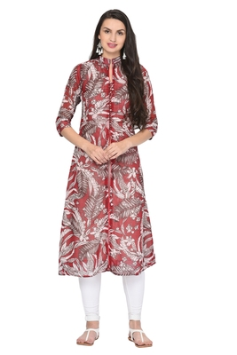 Red printed georgette ethnic-kurtis