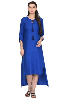 Royal-blue plain rayon ethnic-kurtis