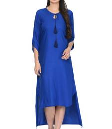 Royal-blue plain rayon ethnic-kurtis