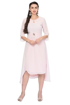 Light-baby-pink plain georgette ethnic-kurtis
