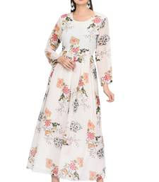 White printed georgette ethnic-kurtis
