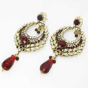 Victorian Stone Danglers Blood Red