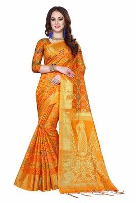 Mustard woven kanchipuram silk saree with blouse