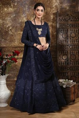 Navy Blue Thread Embroidery Georgette Semi Stitched Lehenga