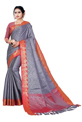 Charcoal woven banarasi silk saree with blouse