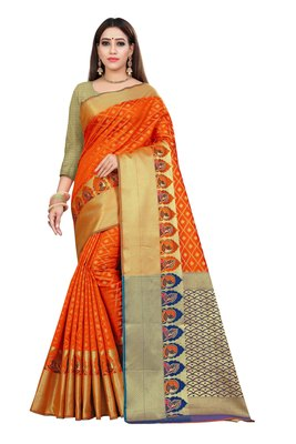 Orange woven kanchipuram silk saree with blouse
