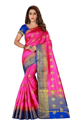 Pink woven nylon saree with blouse