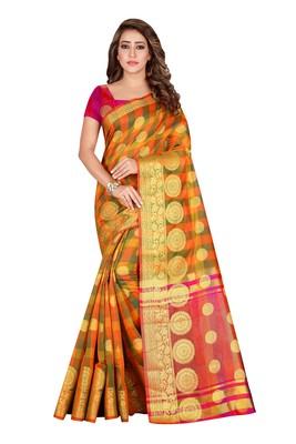 Orange woven pure cotton saree with blouse
