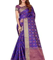 Royal blue woven kanchipuram silk saree with blouse