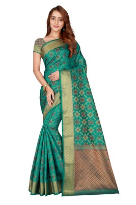 Teal woven kanchipuram silk saree with blouse
