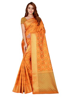 Mustard woven kanchipuram silk saree with blouse