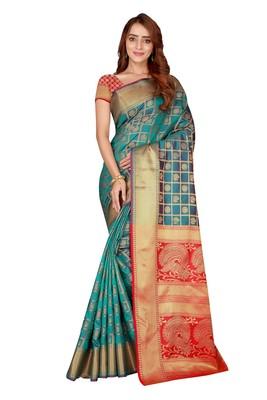 Teal woven kanchipuram silk saree with blouse