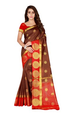 Brown woven nylon saree with blouse