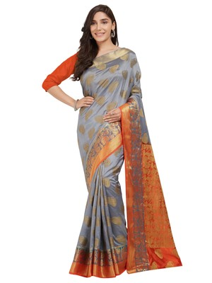Charcoal woven nylon saree with blouse