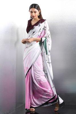 Pink printed Georgette saree