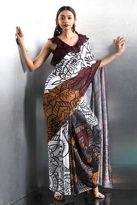 multicolor printed Georgette saree