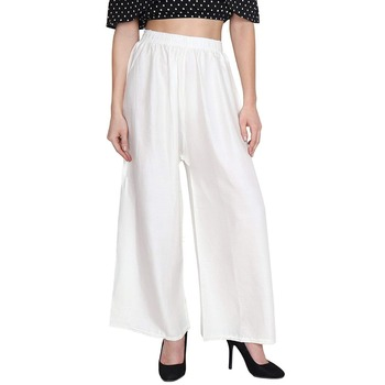 White Women's Rayon Solid Flared Palazzo