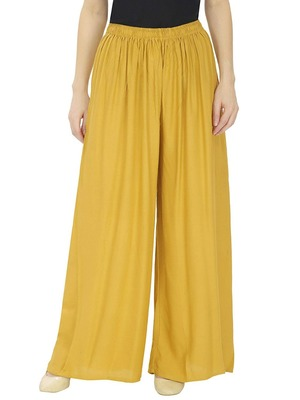 Yellow Women's Rayon Solid Flared Palazzo