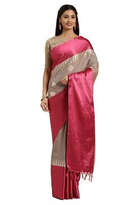 Grey woven katan silk saree with blouse