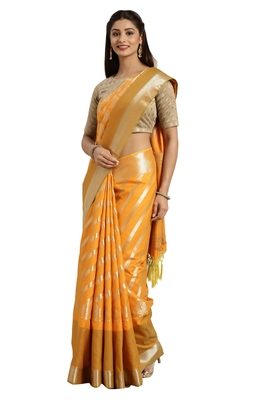 Orange woven katan silk saree with blouse