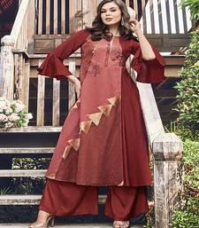 Crimson printed jacquard party-wear-kurtis