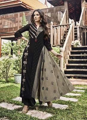 Black printed jacquard party-wear-kurtis