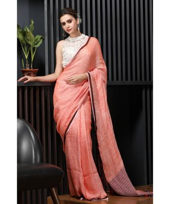 orange LINEN SAREE WITH KATHA STITCH PALLU