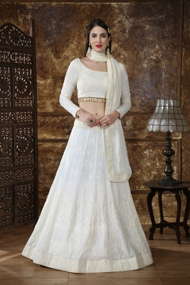 Off White Thread Embroidery Georgette Semi Stitched Lehenga