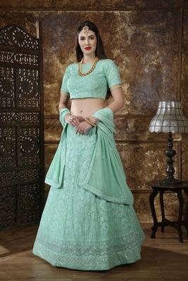 Light-green thread embroidery georgette semi stitched lehenga
