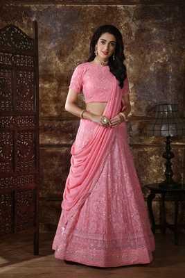 Light Pink Thread Embroidery Georgette Semi Stitched Lehenga
