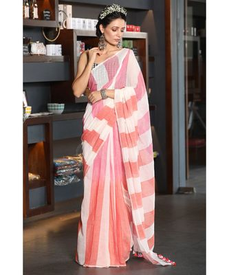 OFFWHITE COTTON SAREE WITH PINK AND orange OMBRE STRIPES