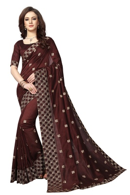Brown embroidered silk saree with blouse