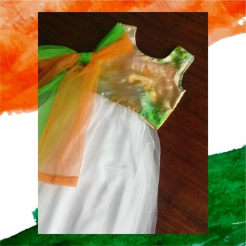Tricolor blouse with net white lehenga and dupatta