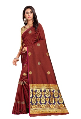 Brown woven silk saree with blouse