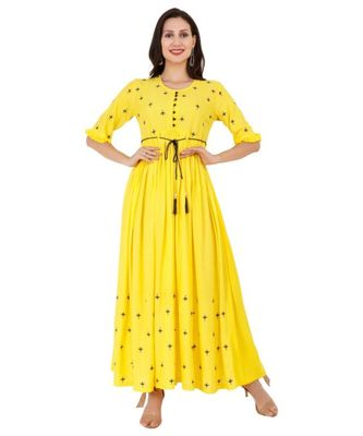 Rayon Yellow Straight Embroidered With Lanyard Kurta