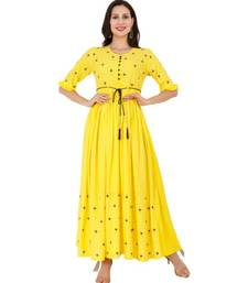 Rayon Yellow Straight Embroidered With Lanyard Kurta