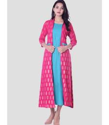 Straight Rayon Blue Kurti For Women With Attach Printed Jacket