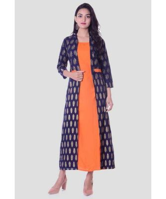 Straight Rayon Orange Kurti For Women With Attach Printed Jacket