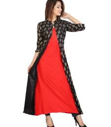 Straight Rayon Red Kurti For Women With Attach Printed Jacket