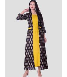 Straight Rayon Yellow Kurti For Women With Attach Printed Jacket