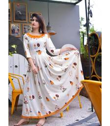 White Prnted Anarkali For Women & Girls