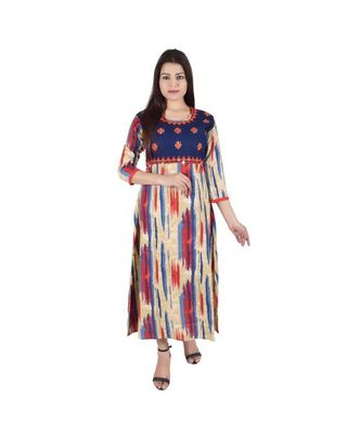 Womens Rayon Multi Straight Round Neck Ankle Length Kurti