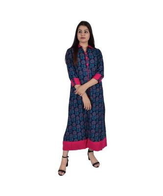 Womens Rayon Navy Straight Collared NeckAnkle Length Kurti
