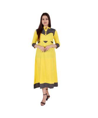 Womens Rayon Yellow Straight Mandarin NeckAnkle Length Kurti